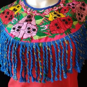 Jackets & Blazers - Embroidered Guatemalan Huipil Finged Cape